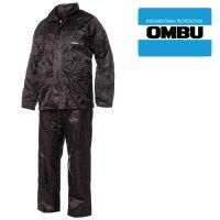 Traje de agua impermeable, negro/azul con capucha Ombu talles L/3 XL